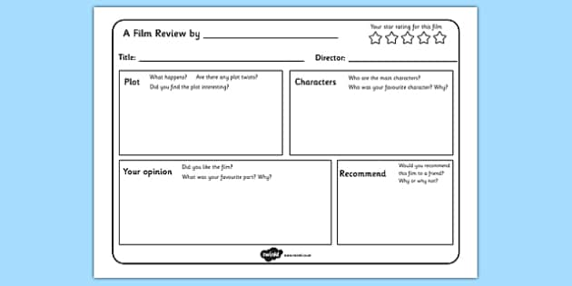 film review writing template - english resource