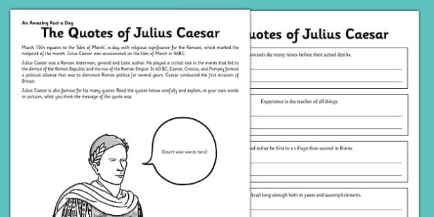 The Quotes of Julius Caesar Worksheet / Worksheet