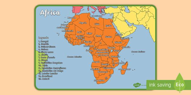 Cartina Africa In Italiano.I Continenti Del Mondo Africa Poster Teacher Made