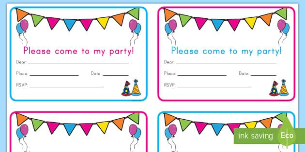 birthday party invitation cards teacher made