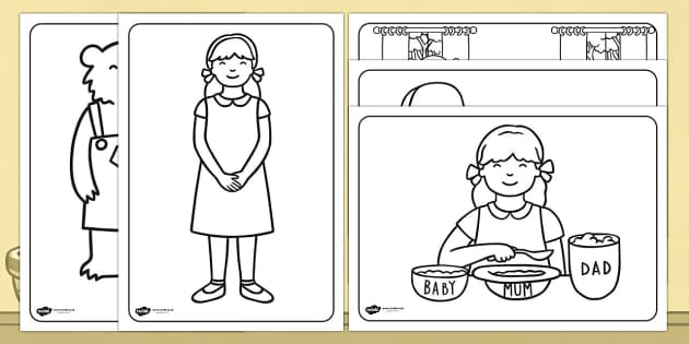Goldilocks And The Three Bears Colouring Sheets