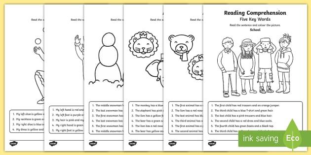 Five Key Words Reading Prehension Worksheet