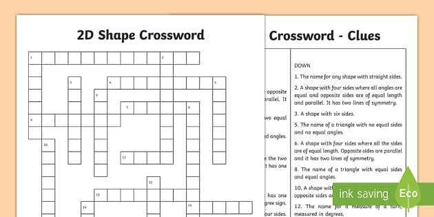 2d shape crossword worksheet activity sheet square ccuart Choice Image