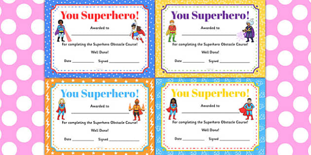 Superhero obstacle course certificates superhero obstacle yadclub Choice Image