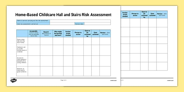 Home Based Childcare Hall and Stairs Risk Assessment