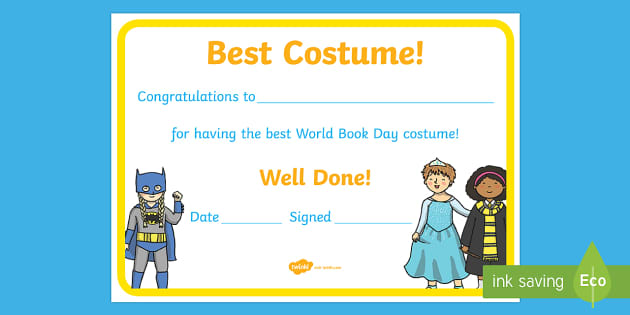 Best Costume World Book Day Certificate - certificate ...