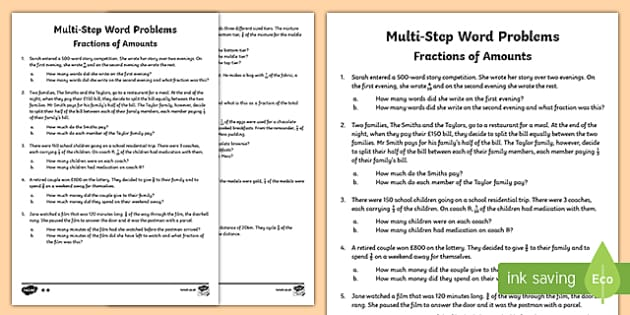 MultiStep Fractions of Amounts Maths Word Problems – Fractions Word Problems Worksheets