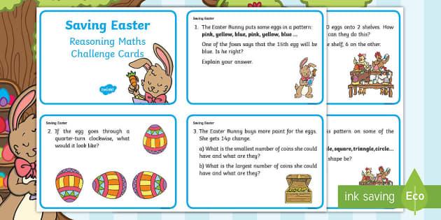 Year 1 Saving Easter Reasoning Maths Challenge Cards ...