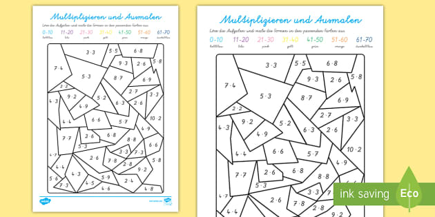 Multiplizieren und Ausmalen Arbeitsblatt - Multiplizieren und