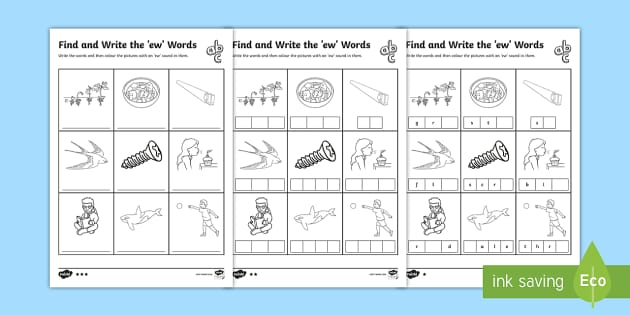 Find And Write The Ew Words Differentiated Worksheet Activity