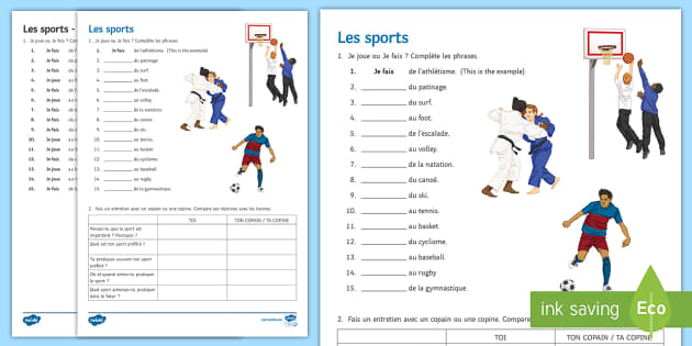 sports worksheet worksheet french sports leisure freetime passe temps. Black Bedroom Furniture Sets. Home Design Ideas