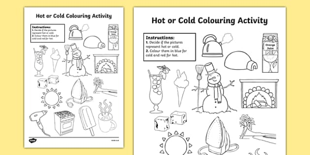 Hot or cold colouring worksheet activity sheet hot or cold gumiabroncs Images