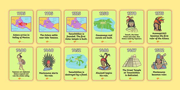 Aztec Timeline Cards Aztec Aztec People Mexican