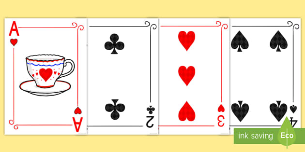 image relating to Playing Card Printable identified as Alice in just Wonderland Enjoying Playing cards Reduce Outs - alice within just
