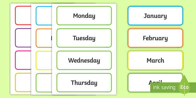 Days Of The Week U0026 Months Of The Year Labels  Days Of The Week Calendar Template