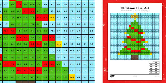 KS1 Christmas Pixel Art Colouring Pages Teaching Resources