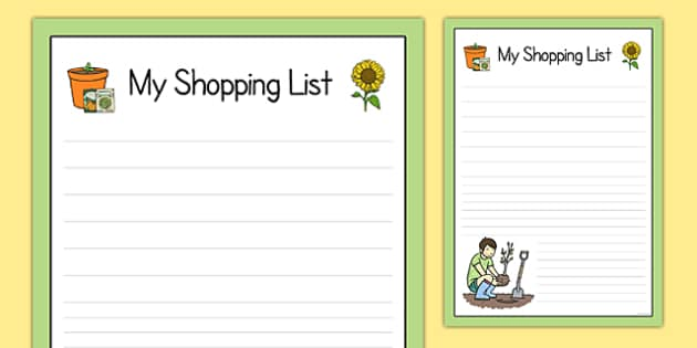 Garden Centre Role Play Shopping List  Garden Centre Role