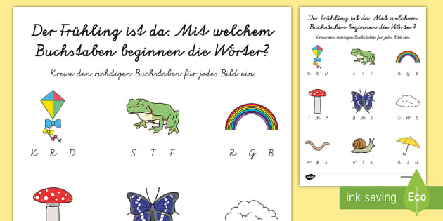 Frühlingswörter: Finde den Anfangsbuchstaben Arbeitsblatt