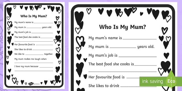 early years mother 39 s day questionnaire worksheet activity sheets. Black Bedroom Furniture Sets. Home Design Ideas
