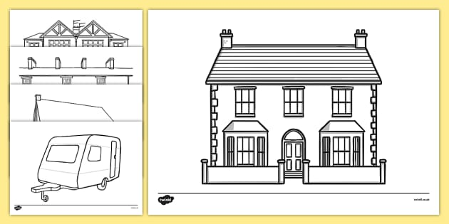 Houses and Homes Colouring Sheets  house home building
