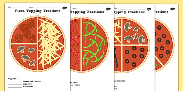 Pizza Fractions Halves Quarters And Thirds Worksheets
