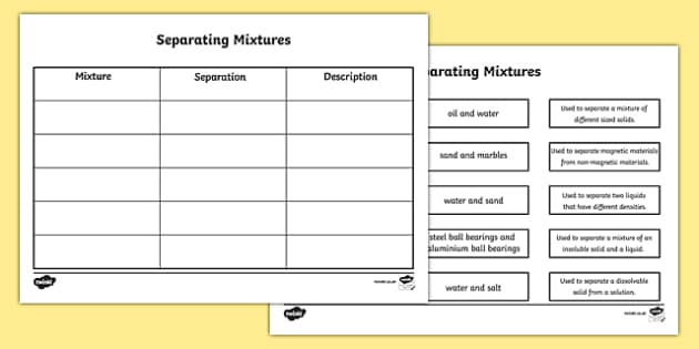 Separating Mixtures Matching Worksheet Separating Mixtures