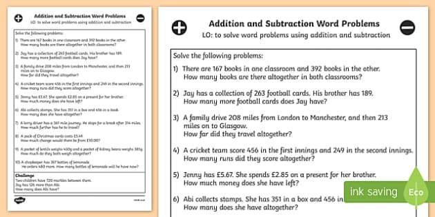 Addition and Subtraction Word Problems Worksheet - Year 3