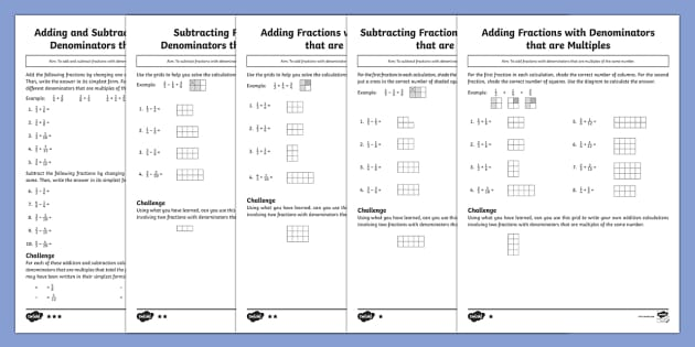Add And Subtract Fractions: Denominators That Are Multiples