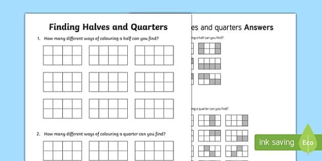 Finding Halves And Quarters Worksheet / Worksheet, Worksheet