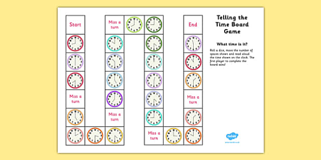 telling the time board game ks1 o 39 clock and half past telling. Black Bedroom Furniture Sets. Home Design Ideas