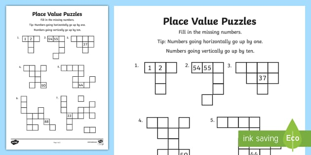 year 2 place value puzzles worksheet activity sheet. Black Bedroom Furniture Sets. Home Design Ideas