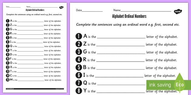 Alphabet Ordinal Numbers Worksheet - alphabet, ordinal ...