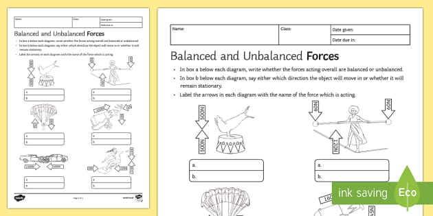 Balanced and Unbalanced Forces Homework Worksheet / Activity