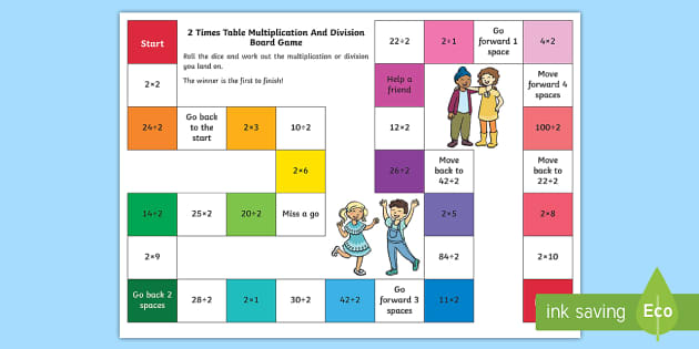 2 Times Table Board Games Multiplication And Division Ks1