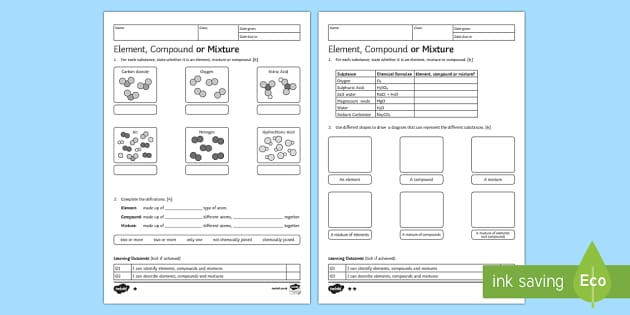 ks3 element compound or mixture homework worksheet activity. Black Bedroom Furniture Sets. Home Design Ideas