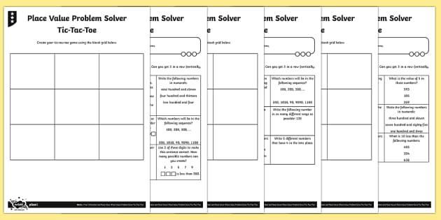 place value problem solving tic tac toe differentiated worksheet worksheets. Black Bedroom Furniture Sets. Home Design Ideas