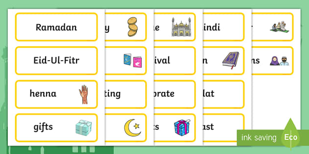 free  eid topic word cards teacher made
