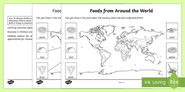 Foods From Around The World Worksheet Activity Sheet