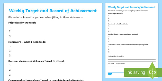 record of achievement template