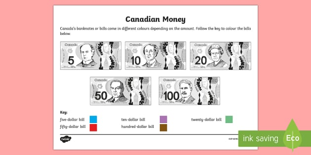 Canadian Money Worksheet K 3 Banknotes Colouring Page