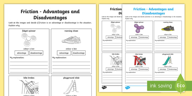 Friction Advantages and Disadvantages Activity Sheet ACSSU076 – Types of Friction Worksheet