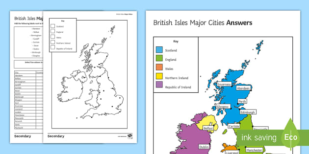 Map Of Ireland With Major Cities.British Isles Major Cities Map Worksheet Worksheet Extension