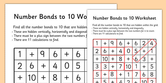 Number Bonds to 10 Word Search number bonds numeracy maths – Number Bonds Worksheet