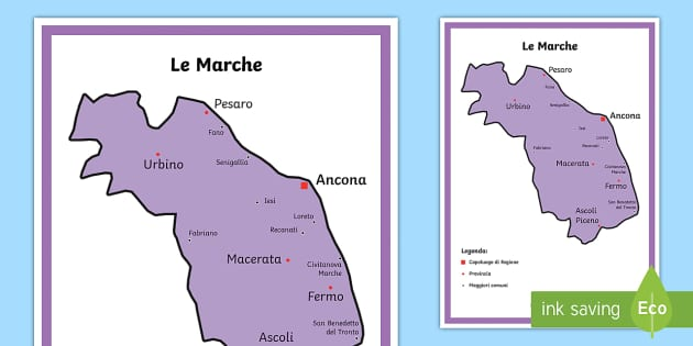 Le Marche Cartina Politica.Scuola Primaria Le Marche Cartina Politica Teacher Made