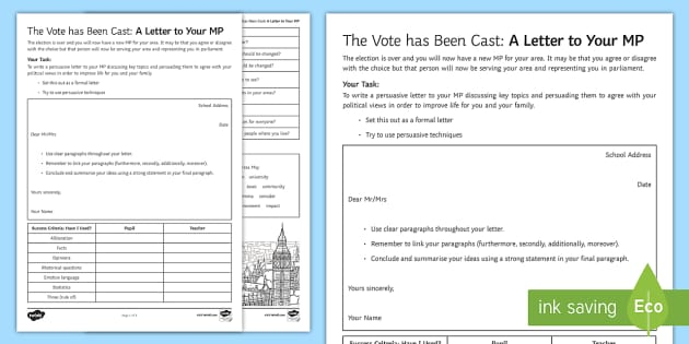 The vote has been cast a persuasive letter to your mp worksheet expocarfo Choice Image