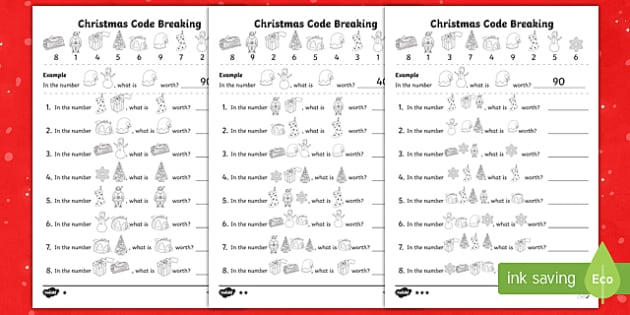 christmas themed place value code breaking activity pack. Black Bedroom Furniture Sets. Home Design Ideas