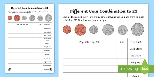 Combinations of Coins Worksheet / Worksheet - Maths, money, Y2, Year 2