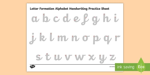 FREE! - Letter Formation Alphabet Handwriting Practice Sheet