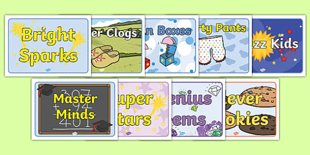 Classroom Names Ideas ~ Group names pack signs labels table