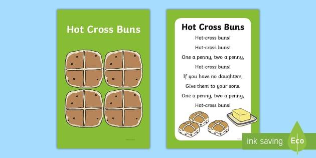 FREE! - Hot Cross Buns Nursery Rhyme Poster - rhymes